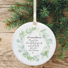 Thank You for Being my Grandad/Grandma Ceramic Keepsake Decoration - Pale Green Wreath Design